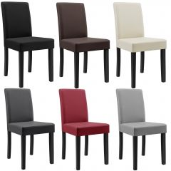 [en.casa] padded Dining chairs 6x set - synthetic leather - massive Wood legs (Color selectable)