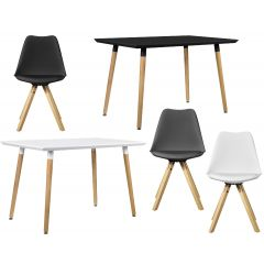 Stylish table in trendy retro design - 120 x 70 cm - design chair set of 4