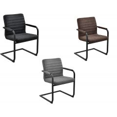 Elegant chair with armrests - imitation leather