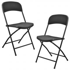 [casa.pro] COLLAPSING GARDEN CHAIR - SET OF 2 - GREY/ANTHRACITE