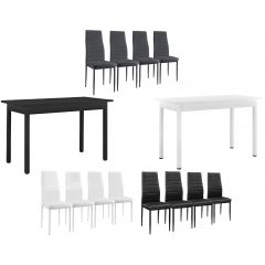 [en.casa] Dining table 120x60cm - padded chair set of 4