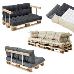 [en.casa] SET OF CUSHIONS FOR EURO PALLET FURNITURE - SEAT AND BACK REST CUSHION