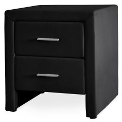 [en.casa] Bedside Table Nightstand Bedside Cabinet Faux Leather 48x42x55cm Storage