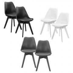 modern high-quality synthetic leather padded chairs - 6 x  set