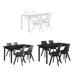 [en.casa] 4 x modern high-quality synthetic leather padded chairs + table