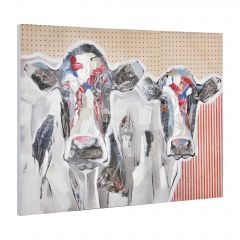 [art.work] HANDPAINTED WALL PAINTING COWS ON CANVAS INCL. FRAME