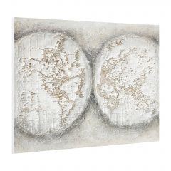 [art.work] HANDPAINTED WALL PAINTING GLOBE ON CANVAS INCL. FRAME