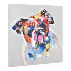 [art.work] HANDPAINTED WALL PAINTING BULLDOG ON CANVAS INCL. FRAME