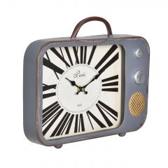 [en.casa] WALL CLOCK OLD TELEVISION - ANALOG - 33 X 5 X 27 CM - COLORED – GLASS