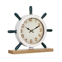 [en.casa] STANDING CLOCK STEERING WHEEL PATTERN - ANALOG - 34 X 8 X 32 CM - COLORED - GLASS