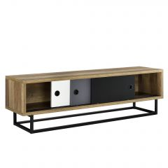 [en.casa] Sliding door TV stand - different color slides - small table - 140cm x 35cm x 41cm