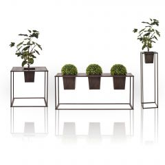 [casa.pro] Flower Stand with Planter - Stylish Decorative Flower Pot  - Dark Brown - Metal