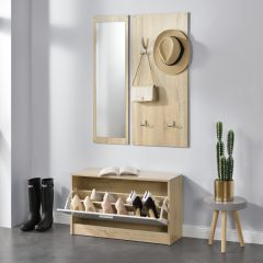 [en.casa]Hallway Furniture Set Shoe Rack Mirror Coat Rack Sonoma Oak Effect