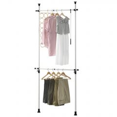 [en.casa] Telescopic Wardrobe 110 - 305 cm Adjustable Hanger Clothes Hanger 2 x max. 20 kg Metal Plastic White Hanging Rail