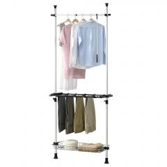en.casa Telescopic Wardrobe with Shelf System Clothes Hanger 103 - 278 cm 15-20 kg Adjustable Length  Shelf Plastic Metal Black White