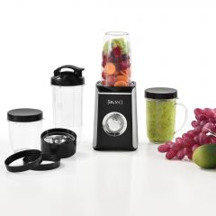[in.tec] Blender Multifunctional Smoothie Maker 9in1 10 x 17 cm with 4 Mugs Black / Silver