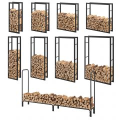 [en.casa] Firewood Rack Metal Storage Log Wood Basket Shelf Steel Black In&Out  Different Sizes