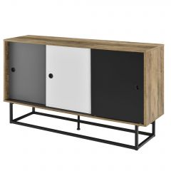 [en.casa] Sideboard  with Sliding Doors 140x35x80 cm White Grey Black TV Stand Storage Commode