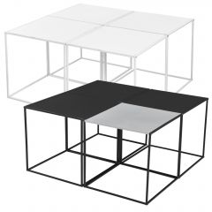 [en.casa] Coffee Table in Set of 4  - 45x45x45cm - End Table Small Table Square Side Table
