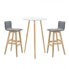 [en.casa] Round white bar table 70 x 107 cm with two grey bar stools 98 x 48 x 49 cm