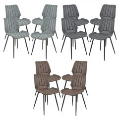 [en.casa] Dining Chair Pohorje Set of 4 Padded Leatherette/Textile Design Chair Set 77 x 57.5 x 46 cm