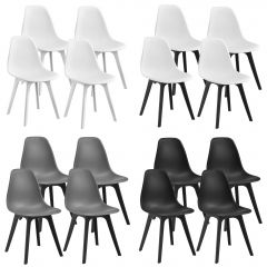 [en.casa] Dining Chair Set Lendava 4 pcs Minimal Design Plastic Chair 83x54x48 cm