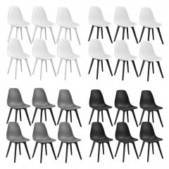 [en.casa] Dining Chair Set Lendava 6 pcs Minimal Design Plastic Chair 83x54x48 cm