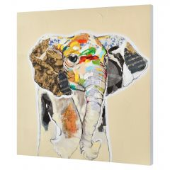 [art.work] HANDPAINTED WALL PAINTING ELEPHANT ON CANVAS INCL. FRAME