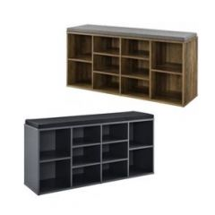 [en.casa] Shoe Rack - Bench - Storage -10 Racks - with Seat Cushions - 103x30x48cm