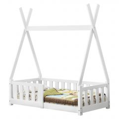 [en.casa] Children Bed with Security Frame 148x76x165cm Matte White Bed for Kids Pine Wood Bed Frame Indian Tent Design