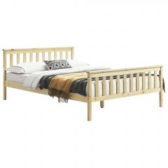 [en.casa] Double bedframe from pine wood with high headboard