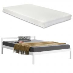 [en.casa] Single or Double Bed Frame with Slats and [neu.haus] Mattress Different Colors and Sizes