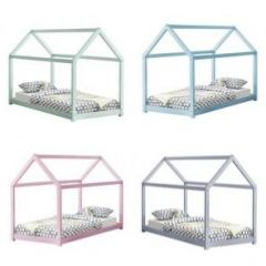 [en.casa] Children Bed 206x98x142 Bed for Kids Pine Wood Bed Frame House Construction Design