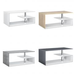[en.casa] Coffee Table with 3 Storage Surface Fiberboard 90cm x 50cm x 41cm in Different Colors