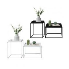 [en.casa] Set of 2 Sofa Tables with Removable Tray Top Coffee Table 2 Different Sizes