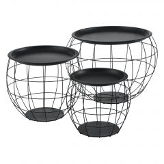[en.casa] Coffee Table Bedside Table Metal Basket 3-Piece Set with Removable Top Metal Black in Various Sizes