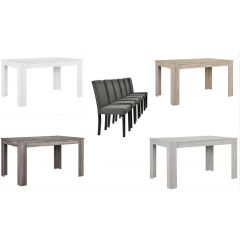 [en.casa] Elegant oak-wood table - with 6 cushioned chairs
