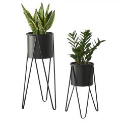 [en.casa] Two-Piece Plant Stand Metal Black