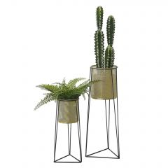[en.casa] Two-Piece Plant Stand Different Sizes Metal Black Brass