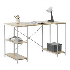 [en.casa] Office Desk with 3 Shelves Workstation Powder-Coated Steel Frame Particleboard Table Top 75 x 120 x 60 cm