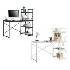 [en.casa] Office Desk Workstation with 4-Tier Shelving Powder-Coated Metal 122 x 120 x 64 cm