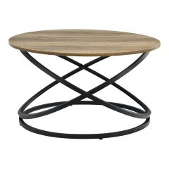 [en.casa] Round Shaped Coffee Table 46x79cm Chipboard/Metal Wood/Black