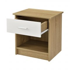[en.casa] Nightstand with Drawers Bedside Table Chipboard 38x36x30cm Oak/White