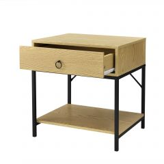 [en.casa] Nightstand with Drawer Bedside Table Chipboard Metal 49x45x40cm Oak Effect/Black