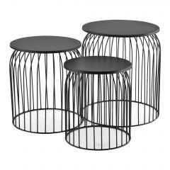 [en.casa] Coffee Table Side Table Metal Basket 3-Piece Set with Removable Top Different Colors