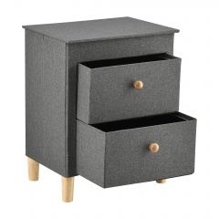 [pro.tec] Chest of 2 Drawers Cabinet Nightstand Grey MDF/Textile 62x49x33,5cm