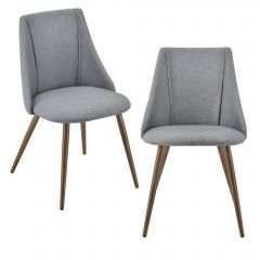 [en.casa] Upholstered Office Dining Chair Set 2 Pieces 83x50x53cm Metal Legs Textile Cover Dark Grey