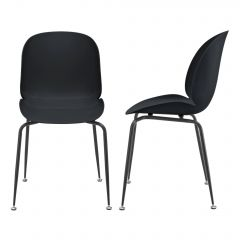 [en.casa] Design Dining Office Chair Set of 2 Pieces Plastic Back Support Metal Legs 85x46x58cm in Different Colours