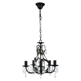 [lux.pro] CEILING LAMP - METAL / SYNTHETIC CRYSTALS - BLACK/ BRONZE - (5 X E14) CHANDELIERS DESIGN