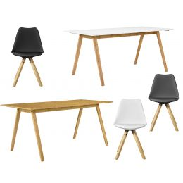 High-quality bamboo dining table - 180 x 80 cm - with 6 chairs